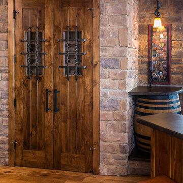 Brasada Ranch home wine serving station & wine storage