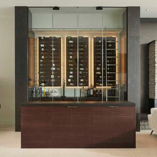 Idée de décoration pour une cave à vin minimaliste de taille moyenne avec un sol en carrelage de porcelaine, un présentoir et un sol blanc.