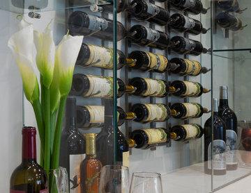 Bright, White Kitchen Renovation Wine Storage Wall