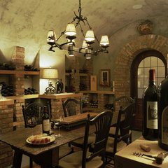 mediterranean wine cellar by Summerour Architects