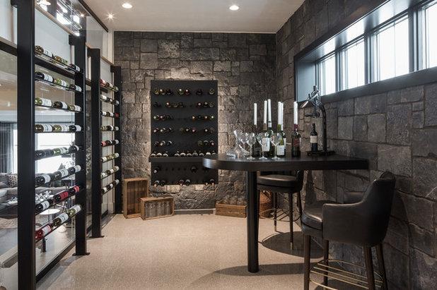 Contemporary Wine Cellar by Rochelle Cote Interior Design