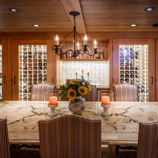 Inspiration for a large rustic dark wood floor wine cellar remodel in San Francisco with storage racks