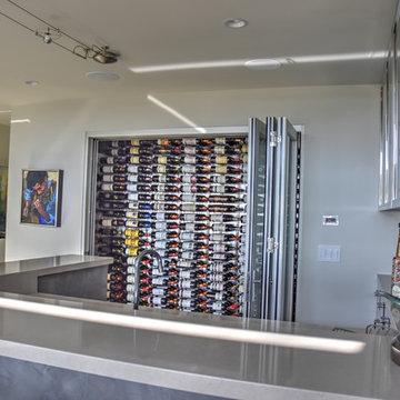 Cardiff, San Elijo - San Diego Custom Wine Cellar Glass Front with adjacent Bar