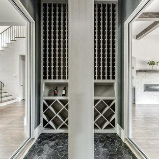 Ispirazione per una cantina minimal con pavimento con piastrelle in ceramica, portabottiglie a scomparti romboidali e pavimento nero
