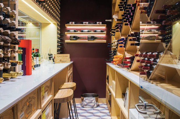 Contemporary Wine Cellar by Moretti Interior Design Ltd