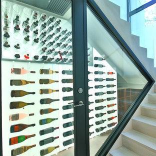 Modern Wine Cellar Under the Stairs in Dallas, Texas