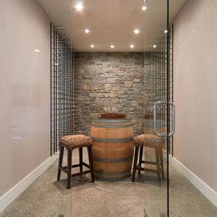 Foto di una cantina design di medie dimensioni con pavimento in cemento e rastrelliere portabottiglie