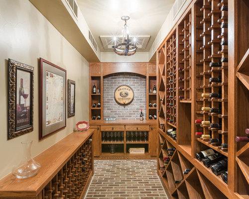 Inspiration For A Timeless Brick Floor Wine Cellar Remodel In Denver With  Storage Racks
