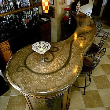 Concrete makes its way to top- Bar counter top