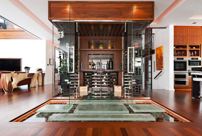 Contemporary Wine Cellar by David Giral Photography