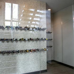 Idee per una grande cantina contemporanea con pavimento in vinile, rastrelliere portabottiglie e pavimento grigio