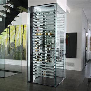 Réalisation d'une cave à vin design de taille moyenne avec un sol en bois foncé et un présentoir.