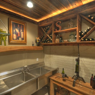 Contemporary-Rustic finished basement with reclaimed barn beams & wine room