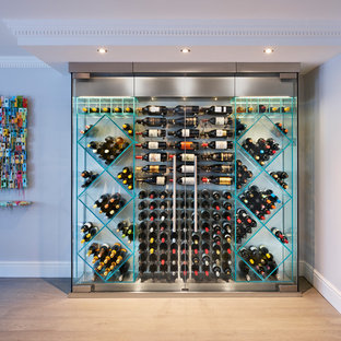 Beautiful This Is An Example Of A Contemporary Wine Cellar With Light Hardwood  Flooring, Cube Storage