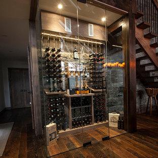 Idéer för en mellanstor modern vinkällare, med mörkt trägolv och vinhyllor