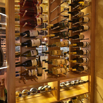 Contemporary wine cellars - White oak and Stainless Steel