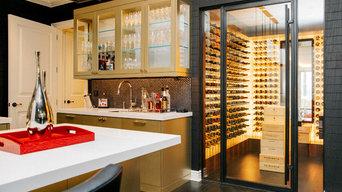 Corona Del Mar Newport Beach Custom Wine Cellar Backlit Contemporary Glass Wine
