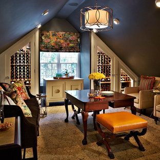 Example of a classic yellow floor wine cellar design in Charlotte with storage racks