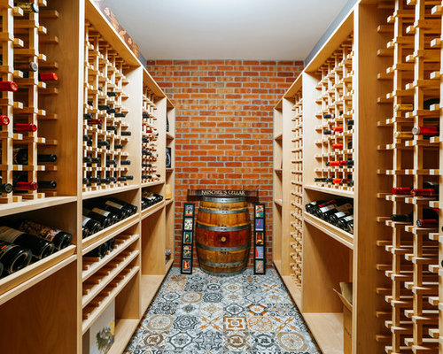 inspiration for a timeless ceramic floor wine cellar remodel in denver with storage racks - Wine Cellar Design Ideas