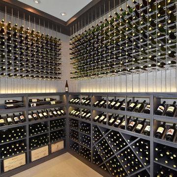 Crystal Cove, Newport Coast, California Modern Custom Wine Cellar in Model Home