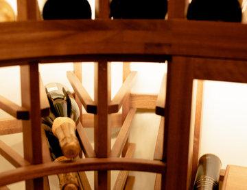Curved Corner Wine Rack Residential Wine Room North Dallas