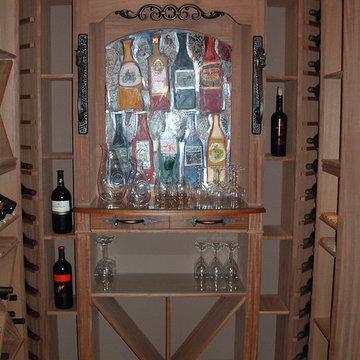 custom built in wine cellar design