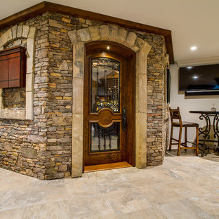 Custom crab orchard dry stack stone rapping the Octagon Wine Cellar