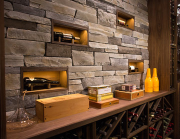 Custom Wine Cellar in White Rock, BC - Lighted Bottle Niches