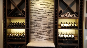 Custom wine pour station with storage.