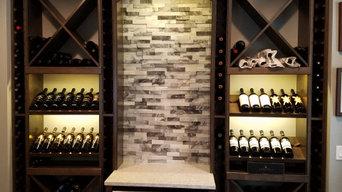 Custom wine pour station with storage.