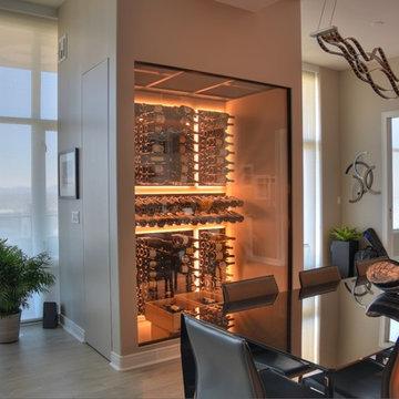 Del Mar San Diego Modern Traditional Custom Wine Cellar Wine Room Glass Stone