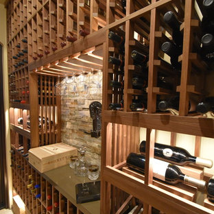 Mid-sized arts and crafts marble floor wine cellar photo in San Diego with display racks