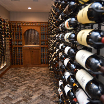 Double Deep Metal Wine Racks for a Contemporary Home Wine Cellar