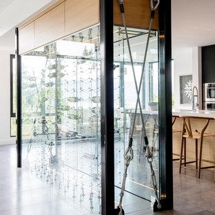 Imagen de bodega minimalista, de tamaño medio, con suelo de baldosas de porcelana, vitrinas expositoras y suelo gris