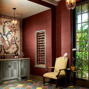 Inspiration pour une cave à vin asiatique avec des casiers et un sol multicolore.