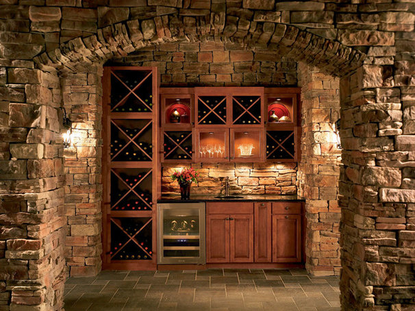 Eclectic Wine Cellar by Shenandoah Cabinetry