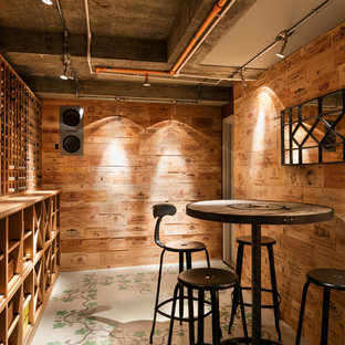 Inspiration for a midcentury wine cellar in London.