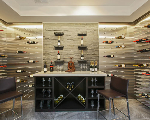 Example Of A Trendy Wine Cellar Design In San Francisco With Storage Racks