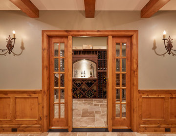 Entry to Wine Cellar with Glass Side Panels