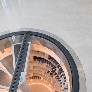 Esempio di una cantina design di medie dimensioni con pavimento in cemento e pavimento beige
