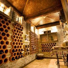 Mediterranean Wine Cellar by Bonnie Lecat Designs