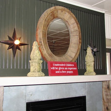 Eclectic Wine Cellar Fireplace Upper