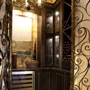 Medium sized victorian wine cellar in Denver with ceramic flooring, storage racks and beige floors.