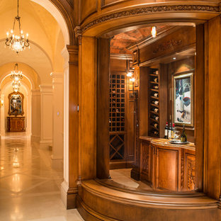 Design ideas for a large classic wine cellar in Miami with display racks and ceramic flooring.