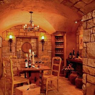 Idéer för vintage vinkällare, med orange golv