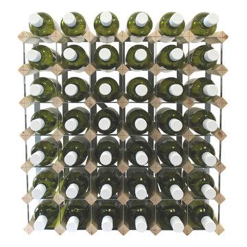 Fully Assembled Wooden Wine Rack - Natural Pine & Galvanised Steel 42 Bottle