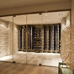 ニューヨークの中サイズのコンテンポラリースタイルのおしゃれなワインセラー (コンクリートの床、ディスプレイラック、グレーの床) の写真