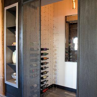 Cette photo montre une cave à vin industrielle de taille moyenne avec un sol en bois foncé, des casiers et un sol marron.