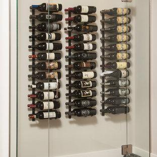 Idéer för en liten modern vinkällare, med mellanmörkt trägolv, vindisplay och grått golv