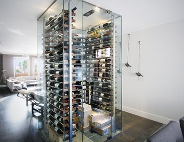 Glass wine cellar in the living room -1-